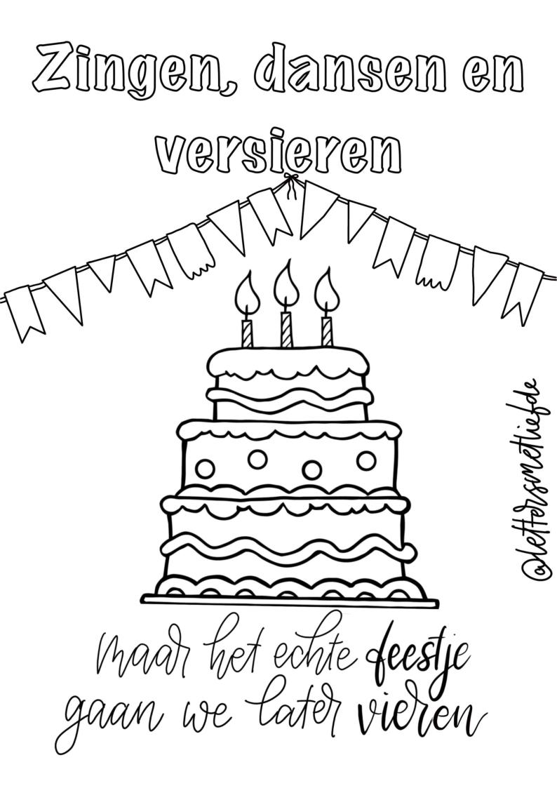 Kleurplaat – Verjaardag Zonder Feest