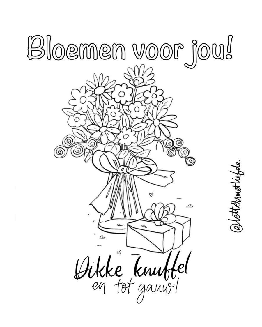 Kleurplaat - Bloemen voor jou