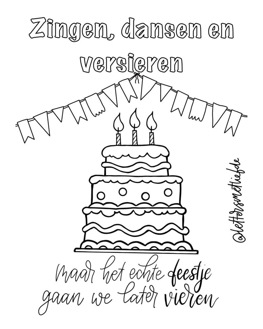 Kleurplaat - Verjaardag zonder feest